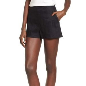 Leith Black Linen Blend High Waisted Shorts